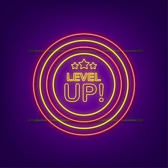 Bonus sull'icona del gioco. icona di aumento di livello, nuovo logo di livello. icona al neon. illustrazione vettoriale.