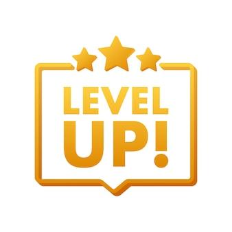 Bonus sull'icona del gioco. icona di aumento di livello, nuovo logo di livello. illustrazione vettoriale.