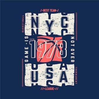 Il gioco non è finito tipografia sportiva icona di basket per il design della maglietta