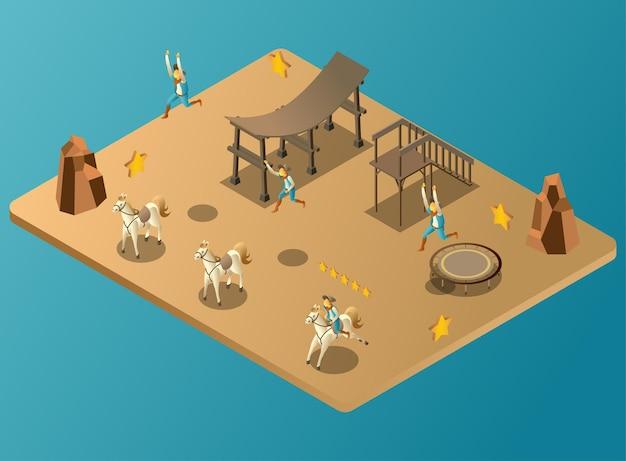 Gioco di saltare i cowboy nell'illustrazione isometrica dei cavalli