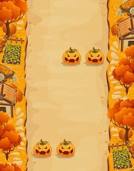 Sfondo del livello di gioco con piattaforme e oggetti gioco paesaggio autunnale con trappole