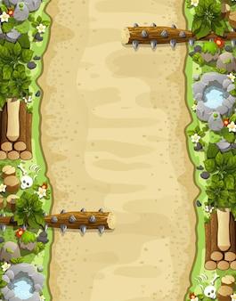 Sfondo del livello di gioco con piattaforme e oggetti gioco paesaggio estivo con trappole