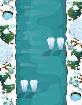 Sfondo del livello di gioco con piattaforme e oggetti gioco paesaggio invernale con trappole