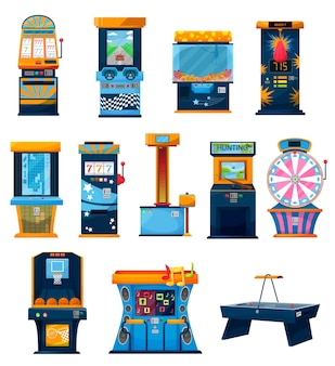 Icone delle macchine da gioco, ruota fortunata dei cartoni animati, un bandito armato e slot machine