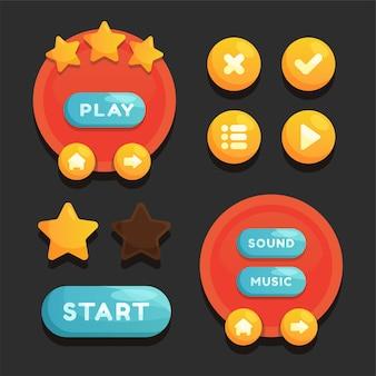 Scena del menu di gioco per lo stato del potere del denaro e oggetti da collezione