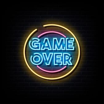 Game over insegna al neon simbolo al neon