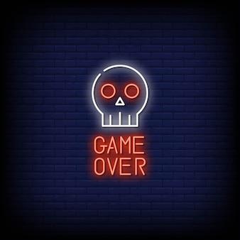 Game over insegne al neon in stile testo vettoriale