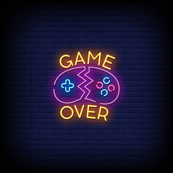 Game over insegne al neon in stile testo