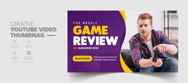 Recensione del gioco miniatura di youtube e modello di banner web
