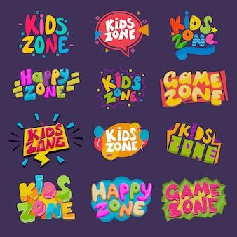 Banner di sala giochi per bambini in stile cartone animato per bambini felice gioco zona decorazione illustrazione set di etichette scritte infantili per la scuola materna isolato su sfondo