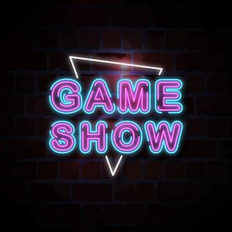 Illustrazione del segno al neon game show
