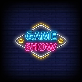 Game show insegne al neon stile testo vettoriale