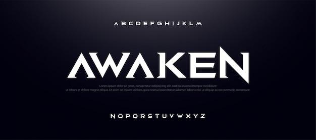 Carattere sport alphabet movie. tipografia moderna