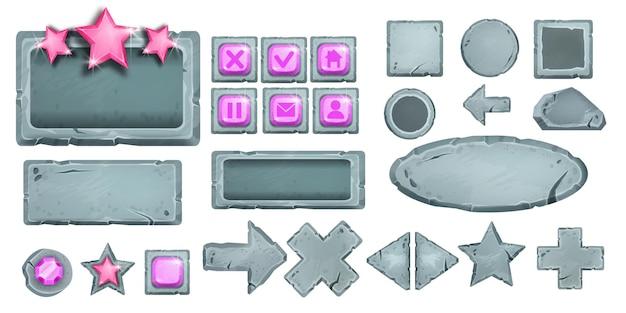Set di pulsanti di pietra di gioco vettoriale icone dell'interfaccia utente di roccia dei cartoni animati menu web sfondo stella freccia croce gemma