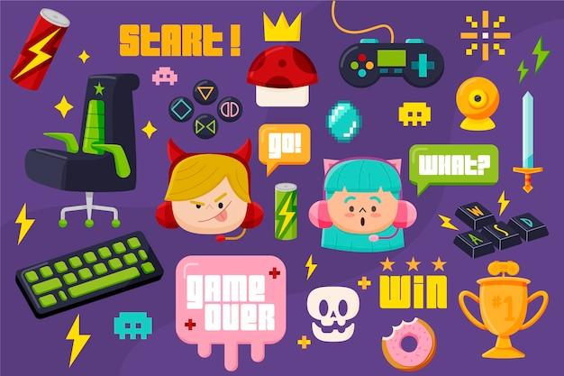 Pacchetto di elementi del concetto di streamer di gioco