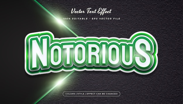 Effetto di stile del testo di gioco nel concetto realistico di bianco e verde
