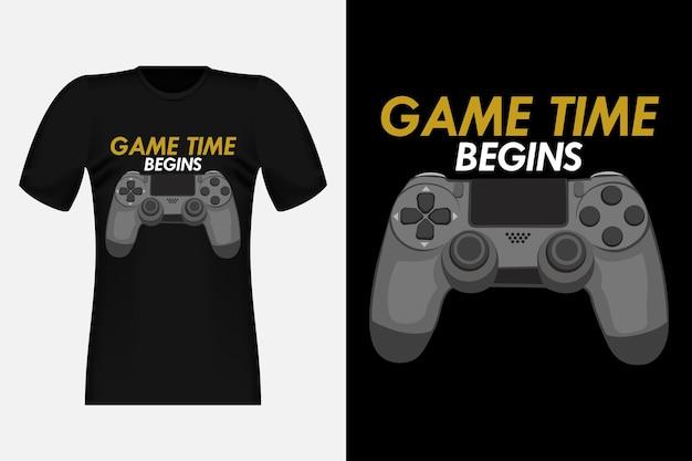 Il tempo di gioco inizia il design di t-shirt vintage vettoriale