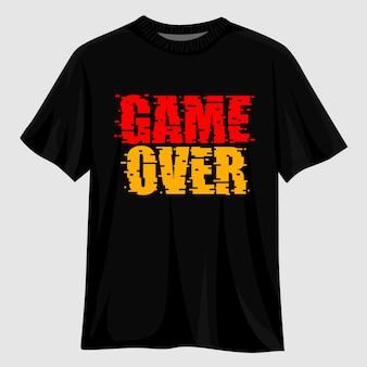 Game over tipografia t shirt design