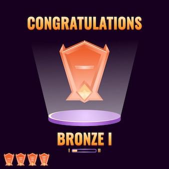 Gioco ui bronzo classificato level up interface game ui asset elements