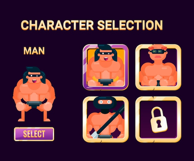 Interfaccia di selezione del personaggio dell'interfaccia utente del gioco con bordo dorato per gli elementi delle risorse della gui