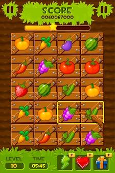 Elementi dell'interfaccia utente del gioco. icone di gioco 2d ed elementi di design. orti, campo con cassette di legno e piante per il gioco match 3.