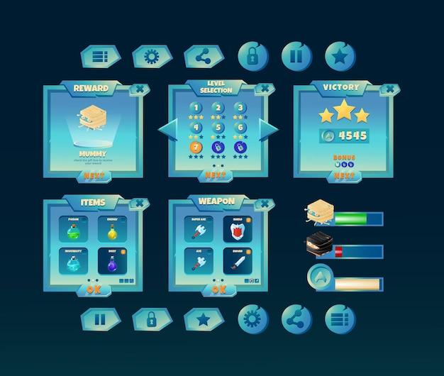 Interfaccia pop-up della scheda del kit dello spazio lucido dell'interfaccia utente del gioco con barra e icona