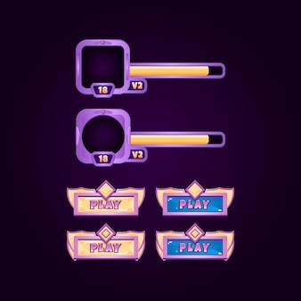 Banner del bordo del frame dell'interfaccia utente del gioco e elementi dei pulsanti per gli elementi delle risorse della gui