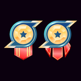 Gioco ui medaglie badge rango diamante dorato lucido con stella