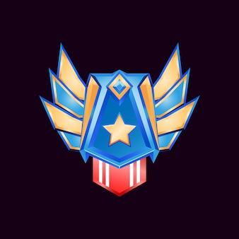 Gioco ui medaglie badge rango diamante dorato lucido con ali e stella