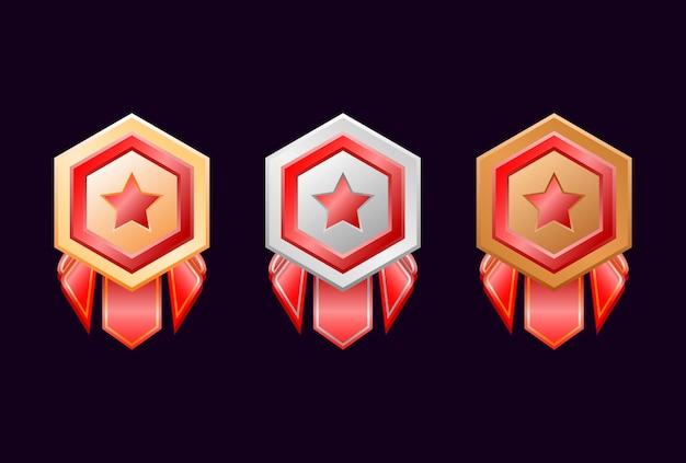 Gioco ui medaglie di badge in oro, argento, bronzo con nastro rosso