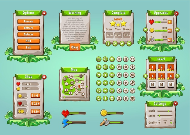 Interfaccia utente del gioco. interfaccia utente grafica impostata in stile naturale. apparecchio di gioco mobile multiuso universale.