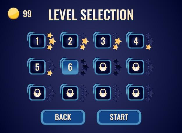 Interfaccia di selezione del livello dell'interfaccia utente del gioco per gli elementi delle risorse della gui