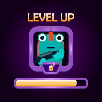 Menu del personaggio per salire di livello dell'interfaccia utente di gioco illustrazione con bordo cornice e barra di livello