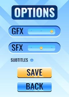Interfaccia del menu di impostazione delle opzioni dell'interfaccia utente del gioco per gli elementi delle risorse della gui