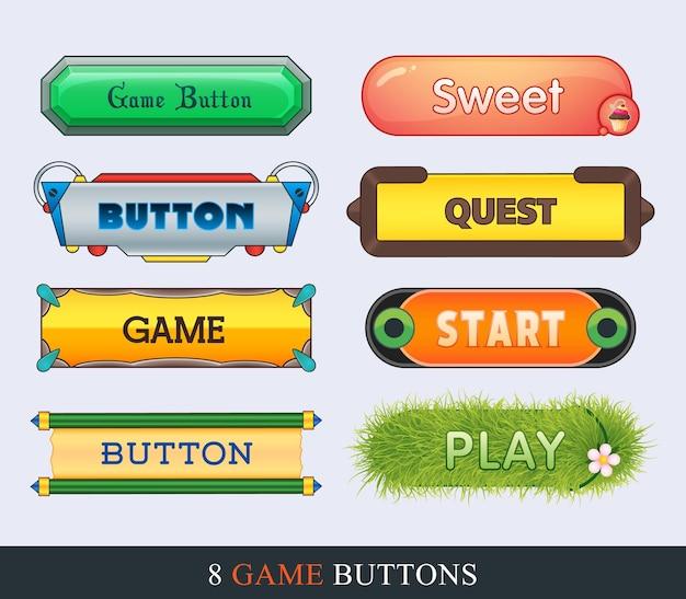 Set di pulsanti dell'interfaccia utente di gioco in stile cartone animato per gui di sviluppo per creare giochi 2d