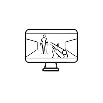 Giocatore che mira al bersaglio umano con la pistola sull'icona di doodle del contorno disegnato a mano del computer. concetto di sparatutto in prima persona