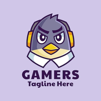 Design del logo mascotte di gamer bird