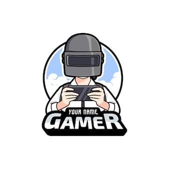 Fumetto del giocatore che gioca il modello di logo di esport di giochi mobili