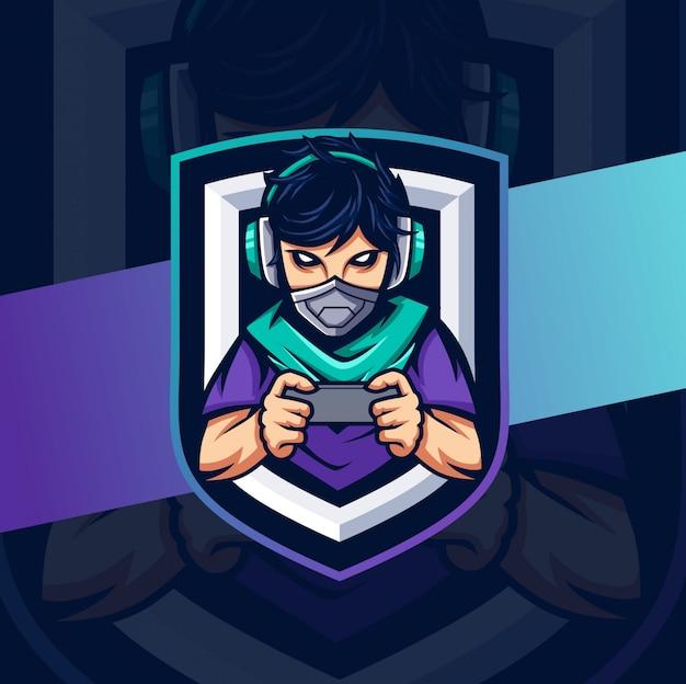 Mascer cyborg giocatore esport logo design