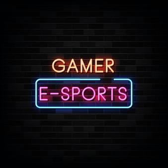 Illustrazione dell'insegna al neon di e-sport del giocatore