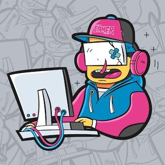 Giocatore davanti all'illustrazione del computer