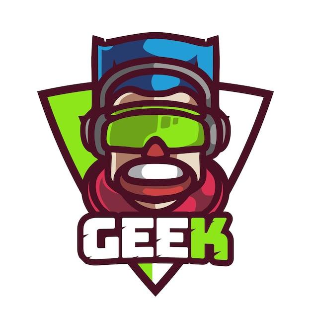 Gamer geek logo di gioco