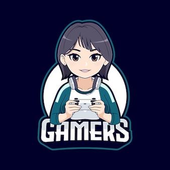 Modello di logo della mascotte della ragazza del giocatore