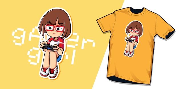 Modello di personaggio maglietta gamer girl