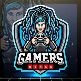 Design del logo esport della mascotte delle ragazze del giocatore