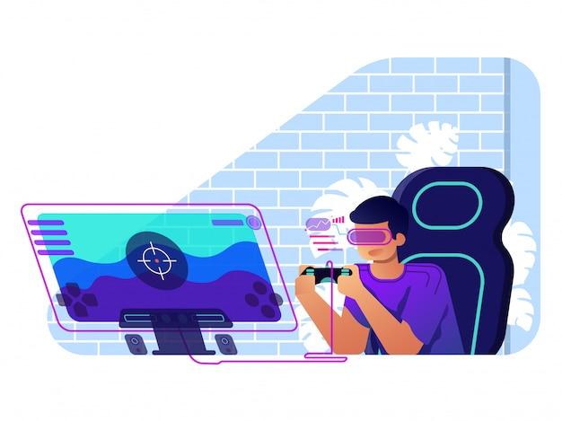 Illustrazione piana di concetto dell'illustrazione del giocatore