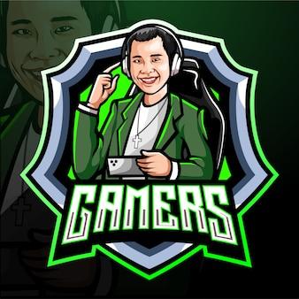 Mascotte del giocatore esport logo design
