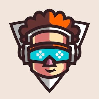Logo di gioco mascotte del giocatore per streamer