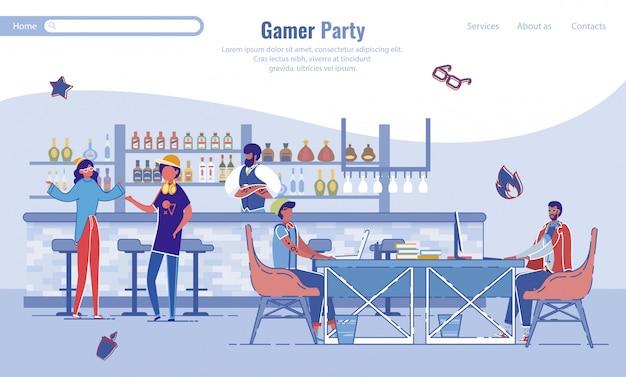 Progettazione della pagina di destinazione di svago degli amici del partito del giocatore