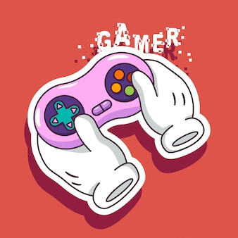 Illustrazione vettoriale del giocatore con il joystick nelle mani del fumetto.